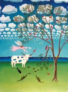 Cow Painting by Karen Hudson