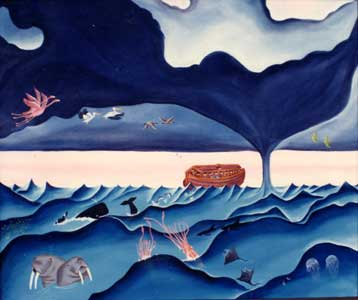 Flying Birds and Sea Creature Follow the Ark by Karen Hudson